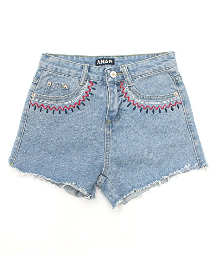 ANAP(アナップ) ポケット刺繍デニムショートパンツ ライトブルー M