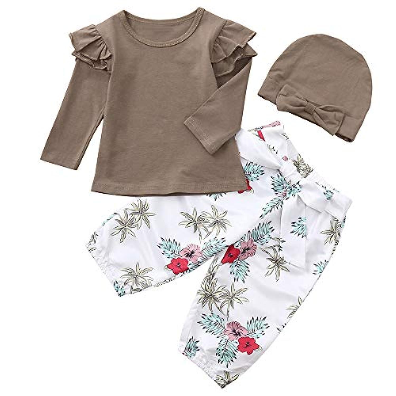 Mhomzawa ベビー服 可愛い 女の子ソリッドトップス Tシャツ+ 花プリントパンツ+帽子 3点セットセット 幼児 赤ちゃん服 春秋 カジュアル