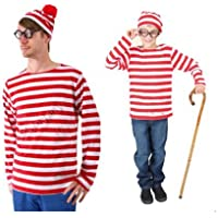 TUTUJI ウォーリーを探せ 3点セット クリスマス衣装 ボーダー 3点セット コスプレ ウォーリーをさがせ コスチューム ウォーリー 仮装 クリスマス 衣装 大人用 (M)