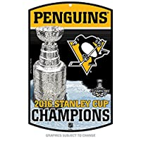 Pittsburgh Penguins Champions Official NHL 2016Stanley Cup Sign 11x 17Wood Champs WinCraft 647832