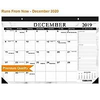 デスクカレンダー 2019-2020 大型 マンスリーページ 17インチ x 12インチ 壁掛けカレンダー デイリープランナー 2020年12月から2年間吊り下げ