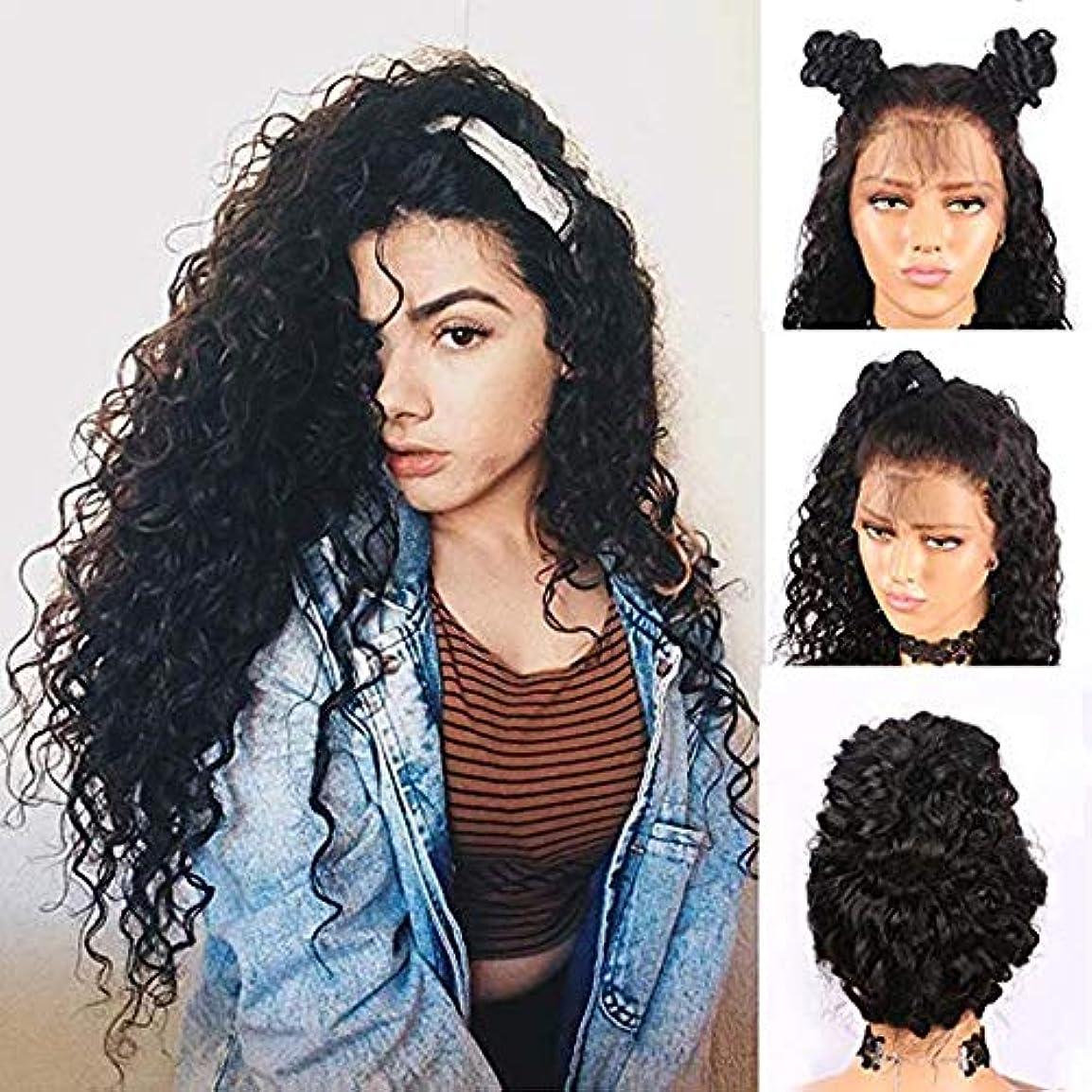 狂人抑制する角度女性のためのフロントレースロングカーリーウィッグアフロブラック人工毛サイドパートウィッグ無料かつらキャップ付き26%密度(26インチ)