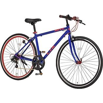 リグ(LIG) クロスバイク 700C シマノ製7段変速 サムシフター 前輪クイックリリース 前後キャリパーブレーキ LIG MOVE 【ネイビー x メタリックレッド】 46224