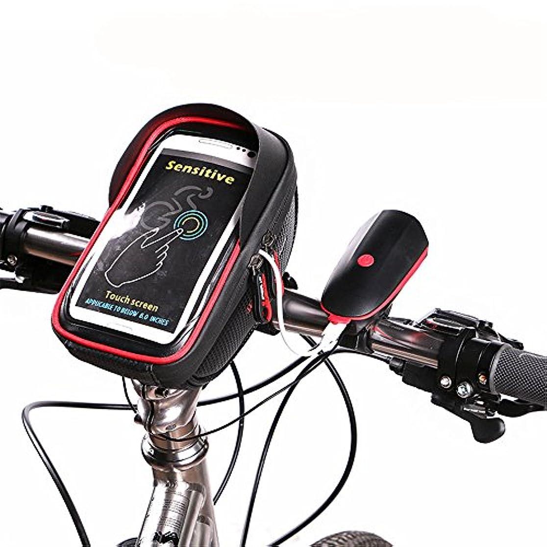 有効瞳誓う自転車サドルバッグリア自転車パニエバッグバイクバッグ防水タッチスクリーン自転車ハンドルフロント電話フレームバッグホルダーのためのiPhone 8 7プラス6 s 6プラス5 s 5 /ギャラクシーS7 S6注7携帯電話6.0インチ以下サンバイザー付き サドルバッグ?フレームバッグ (色 : 赤)