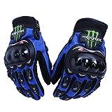 モンスターエナジー monster energy バイクグローブ 秋冬用 サイクルグローブ プロテクター手袋 青 M フルフィンガー