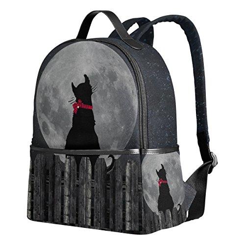 d84dfd55acc9 VAWA リュックサック 高校生 女子 大容量 猫柄 ネコ 可愛い かわいい 漫画 絵柄 月柄 ムーン リュック レディース おしゃれ デイパック  アウトドア 軽量 防水 通勤 通.