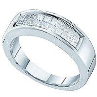 1.00カラット(CTW14KホワイトゴールドプリンセスカットホワイトダイヤモンドレディースInvisible結婚記念指輪1CT