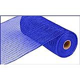 10 inch x 30 feet Deco Poly Mesh Ribbon - Royal Blue with Blue Foil