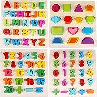 QXMEI おもちゃ デジタル文字ビルディングブロック 木製パズル 女性 男性 赤ちゃん 手すり ジグソーパズル 1~6歳 若い子供 パズルトイ