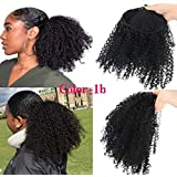 Morningsilkwig Afro Puff Drawstring Ponytail 12Inch Afro Kinky Curly Hairpieces African American Short Wrap Synthetic clip in Hair Extensions (Ponytail Afro 1B)