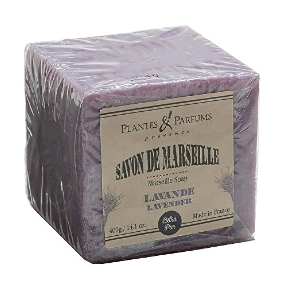 減衰きつく圧縮されたPlantes&Parfums [プランツ&パルファム] マルセイユソープ400g ラベンダー<br>