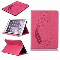 Yiizy Apple Ipad Air 2 (Ipad 6) ケース 手帳型 羽を飲み込みます カバー 本革ソフトレザー 対応 ケース カードポケット スタンド機能 マグネット式 財布型 カバー (ローズレッド)