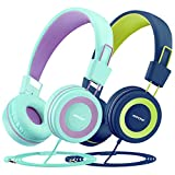 Mpow Kids Headphones (2-Pack), 91dB Volume Limiter & Hearing Protection, Light Weight Comfortable On-Ear Headsets w/Foldable and Durable Earphones with Audio Splitter for Toddlers, Children