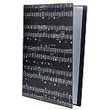 Music Sheet File Paper Storage Folder Documents Holder Blank Sheet Files Plastic A4 Size 40 Pockets (Music Sheet Black)