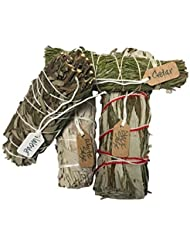 さまざまなSmudge Sticksサンプル最高級のための機会ホワイトセージ、ラベンダー、杉、ブラックセージ1つの各4 Inches Long。