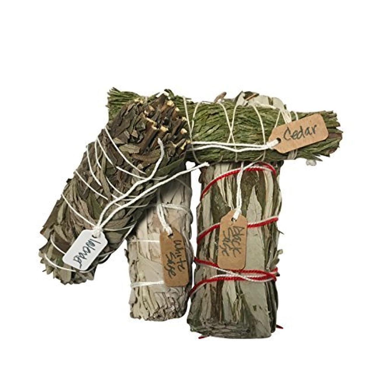 疫病殉教者楕円形さまざまなSmudge Sticksサンプル最高級のための機会ホワイトセージ、ラベンダー、杉、ブラックセージ1つの各4 Inches Long。