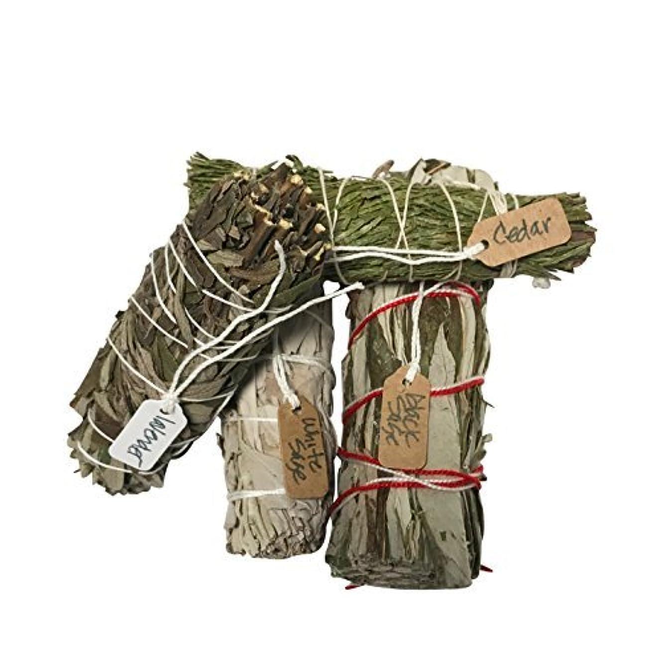 芸術引くかわいらしいさまざまなSmudge Sticksサンプル最高級のための機会ホワイトセージ、ラベンダー、杉、ブラックセージ1つの各4 Inches Long。
