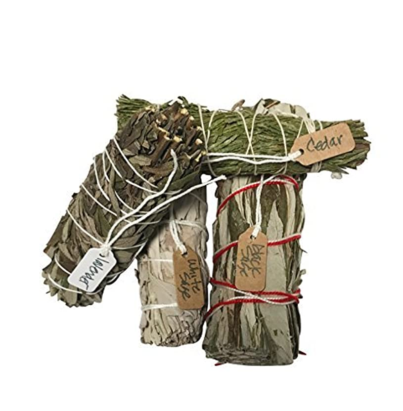 田舎者報復不純さまざまなSmudge Sticksサンプル最高級のための機会ホワイトセージ、ラベンダー、杉、ブラックセージ1つの各4 Inches Long。