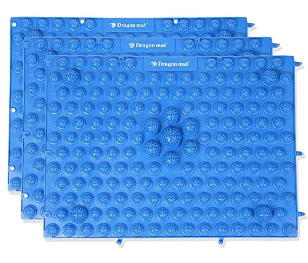 見る効率的に広げるマッサージ屋さんの健康マット ドラゴンマット 足踏み 足ツボ (3枚セット ブルー)