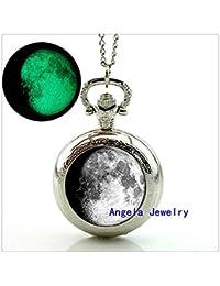 満月の熱烈な懐中時計ネックレスジュエリーグラス輝く満月の懐中時計