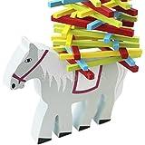 Wooden Horse Toy withカラフルスティックバランスビームキッズパズルブロックゲーム