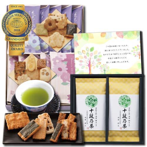 結婚内祝い のし メッセージカード 付き 和菓子 あられ せんべい 詰合せ & 最高位茶匠監修 高級日本茶 銘茶 結婚 お祝い お返し (DB)