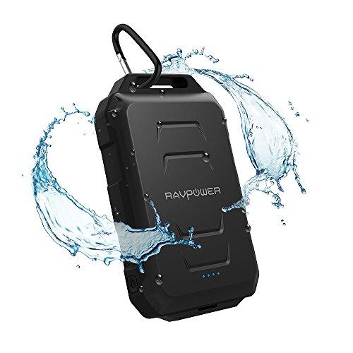 モバイルバッテリー RAVPower 10050mAh 防水 ・ 防塵 ・ 耐衝撃 スマホ 充電器 ( 急速充電 、 LEDライト搭載 、羅針盤付、アウトドア向け) iPhone / iPad / android / ゲーム機 / Wi-Fiルータ 等対応 RP-PB044
