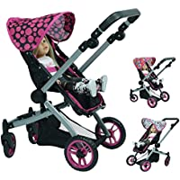 Deluxe Doll Stroller with 3 Interchangeable Hoods and Adjustable Handle - Stroller for 18 inch Dolls [並行輸入品]