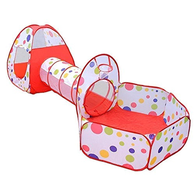 【3点セット】 折り畳み式 子供用 テントハウス キッズテント トンネル ボールプール バスケットネット 子供おもちゃ プレイハウス 秘密基地 お誕生日 出産祝いのプレゼント 収納バッグ付き アウトドア 屋内遊具 知育玩具