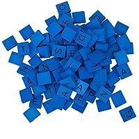 Buorsa 200ピース 木製スクラブルタイル A-Z 大文字木製文字 スクラブルタイル ブルー