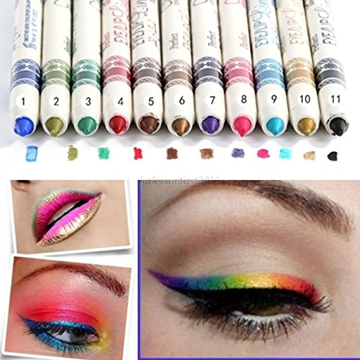 Doitsa 防水 アイライナー 化粧美容用 アイブロウペンシル かわいい リップライナー 鉛筆 12カラー 12本セット