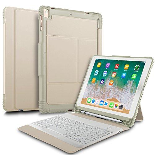 ELTD ipad 9.7 2018/2017/iPad air/iPad air 2/iPad pro 9.7 ケースキーボード iPad air (Model A1474/A1475/A1476)/ iPad air 2(Model A1566/A1567)/ iPad pro 9.7(ModelA1673/A1674/A1675)/iPad 9.7 2017(ModelA1822/A1823)/ ipad 9.7 2018(A1893/A1954)キーボードカバー 手帳型pencil収納 高級PUレザーケース オートスリープ機能付き ゴールド