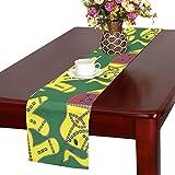 LKCDNG テーブルランナー 緑の地色 象 クロス 食卓カバー 麻綿製 欧米 おしゃれ 16 Inch X 72 Inch (40cm X 182cm) キッチン ダイニング ホーム デコレーション モダン リビング 洗える