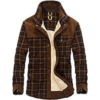 Lavnis Men's Cotton Shirt Jacket Button Down Shirts Casual Corduroy Thicken Fleece Shirt Coat