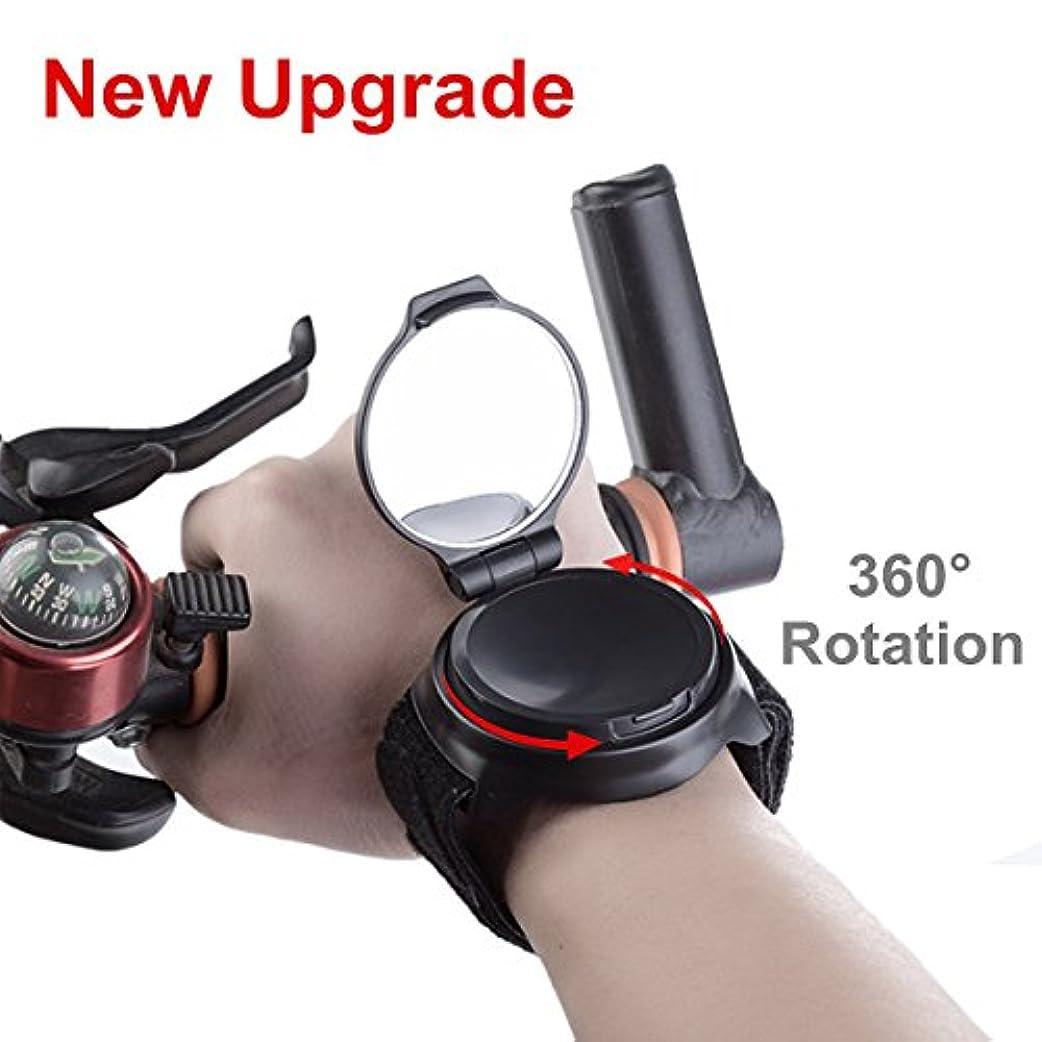 知恵ドル丁寧SEALEN [New Upgrade]自転車 アームミラー、360°回転ポータブル 調節可能 手首装着 広角 コンパクト 山道自転車サイクリング リストバンドリアビューミラー、安全なバックミラー バイクミラー