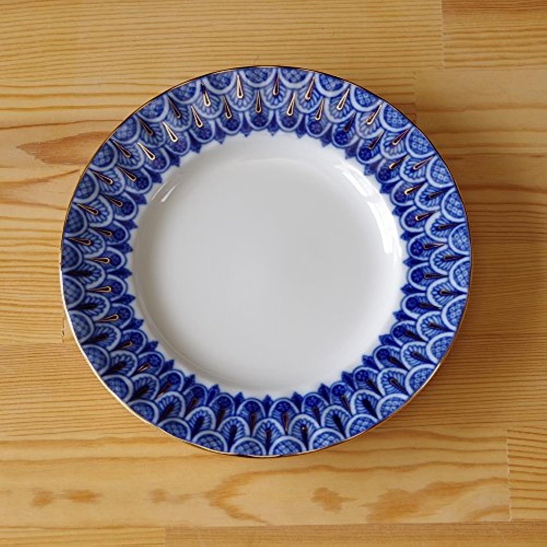 ロシア食器 インペリアル?ポーセレン Imperial Porcelain Forget-me-not ロモノーソフ LOMONOSOV デザートプレート ケーキ皿 中皿 勿忘草 18cm