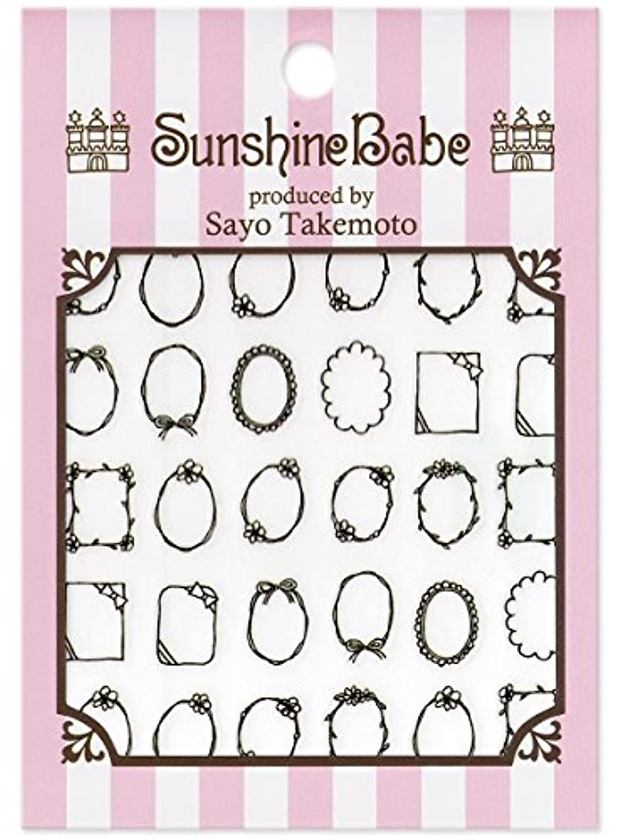 鳴り響く追い越すブリードサンシャインベビー ネイルシール 武本小夜の Sayo Style 手描きフレーム(ブラック)