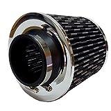 Atom Mash ステンレス メッシュ 高性能 エアクリーナー フィルター 76mm ブラック キノコ 型 汎用