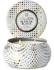 Voluspa ボルスパ メゾンホリデー 2-Wick ティンキャンドル ブラン ド ブラン BLANC DE BLANCS MASION HOLIDAY 2-ウィック Tin Glass Candle