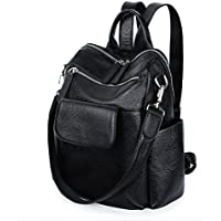 YALUXE Women's Convertible Leather Shoulder Bag Versatile Backpack with Removable Small Crossbody Bag