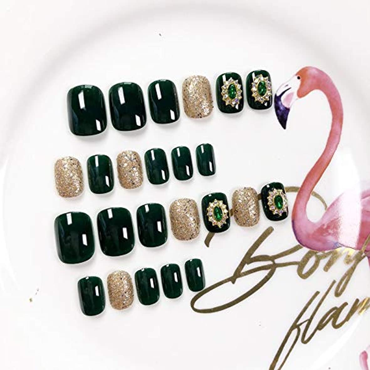 XUANHU HOME 緑色の偽爪キット24ピースダークグリーンとダイヤモンド偽爪、接着剤付きフルカバーミディアムレングス