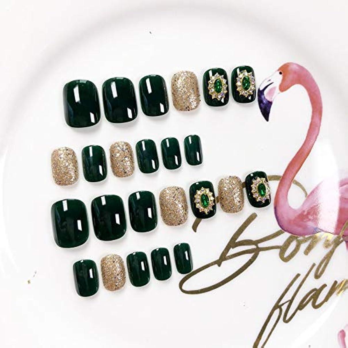 かもしれない略すレオナルドダXUANHU HOME 緑色の偽爪キット24ピースダークグリーンとダイヤモンド偽爪、接着剤付きフルカバーミディアムレングス