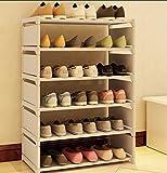 シューズラック 組立式 6段 ブーツ収納 棚板調節 省スペース 本棚利用できる 多機能 グレイ(siero) (6段, グレイ)