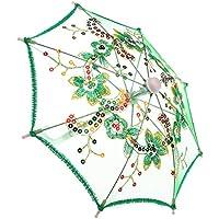 ノーブランド品 可愛い 花  傘  18インチアメリカンガールドール用  アクセサリー 4色選べる - 緑