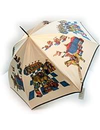 KitagawaSyouten[キタガワショウテン] 雨傘 レディース 長傘 婦人 甲州産 ほぐし織り 遊園地柄 ベージュ