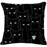 Lyn Cotton Linen Square Throw Pillow Case Decorative Cushion Cover Pillowcase for Sofa 18 X 18 Black and white cat (1)