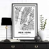 ポスター B2 ニューヨーク 地図 NY NewYork モノクロ モノトーン おしゃれ かっこいい マンハッタン