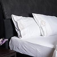 プレミアムと優れた品質6 pc bed-sheet Set with絶妙な刺繍、Comes in 19インチ深いポケットエジプト綿100 % 600tc Made in USAウルトラソフトスムースと強力なファブリック クイーン ホワイト CF-ES-Sheet-01-002