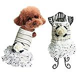 犬服 犬の服ワンピース ドッグウェア 可愛いバラ付き 夏用 中小型犬スカート S~Mサイズ (M, ホワイト)