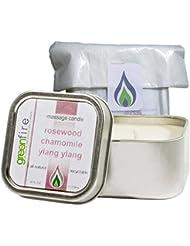 グリーンファイヤーマッサージキャンドル ローズウッド?カモミール?イランイランの香り(サイズ:118.3mL)